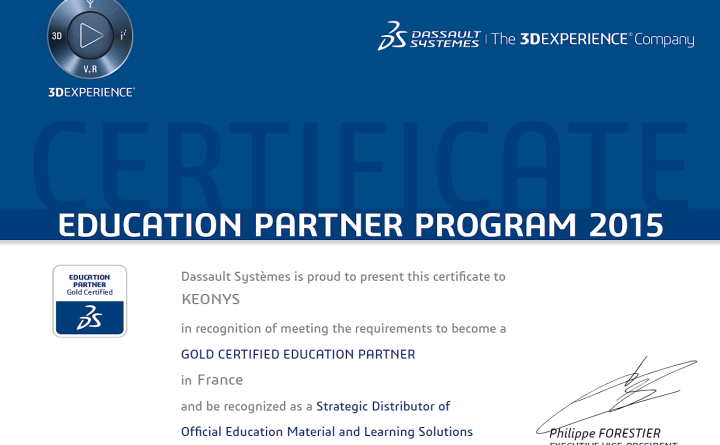 Dassault Systèmes is proud to present this certificate to KEONYS in recognition of meeting the requirements